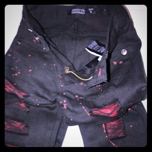 Toddler red & black rip jeans